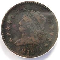 1812 CLASSIC LIBERTY LARGE CENT 1C COIN - ANACS VF20 DETAILS -  DATE PENNY
