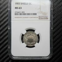 1883 SHIELD NICKEL NGC MINT STATE 63