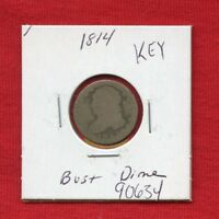 1814 CAPPED BUST SILVER DIME 90634 $  COIN $ US MINT  KEY DATE ESTATE