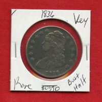 1836 CAPPED BUST SILVER HALF DOLLAR 80390  COIN US MINT  KEY DATE ESTATE