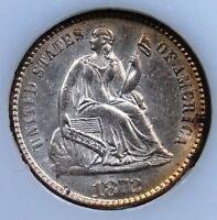 1872 SEATED HALF DIME BRILLIANT UNCIRCULATED NEARLY CHOICE MINOR DOUBLED DIE