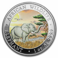 OFFICIAL SOMALIA SILVER ELEPHANT DAY  2019 1 OZ PURE SILVER COLOR COIN CAPSULE