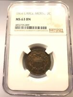 1864 TWO CENT 2C LARGE MOTTO NGC CERTIFIED MINT STATE 63 BN