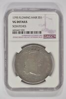 1795 FLOWING HAIR SILVER DOLLAR $1 3 LEAVES NGC VG DETAILS SCRATCHES 4496447-002