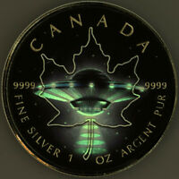 2017 CANADA $5 MAPLE LEAF UFO 1OZ .9999 SILVER GLOW IN THE D