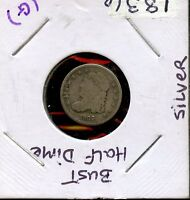 1836 5C UNITED STATES SILVER CAPPED BUST HALF DIME 5C COIN A