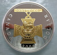 2006 CANADA VICTORIA CROSS PROOF SILVER DOLLAR WITH GOLD COI