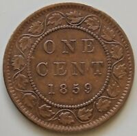 1859 CANADA LARGE 1   ONE   CENT CANADIAN COIN QUEEN VICTORI