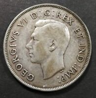 EF TO AU 1942 CANADIAN SILVER HALF DOLLAR 50 CENT COIN