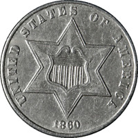 1860 THREE  3  CENT SILVER GREAT DEALS FROM THE EXECUTIVE COIN COMPANY