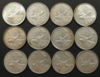 LOT OF 12 F TO MS 1960'S CANADIAN 80  SILVER QUARTERS COINS
