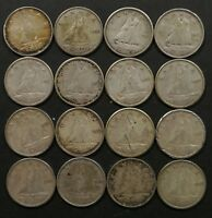 G TO EF LOT OF 16 1950'S CANADIAN 80  SILVER 10 CENT DIMES C