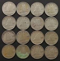 G TO EF LOT OF 16 1940'S CANADIAN 80  SILVER 10 CENT DIMES C