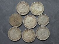 CANADA SILVER 8 COINS LOT 10 CENTS 5 CT. ANTIQUE EARLY 1900'