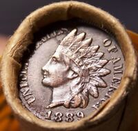 1908 INDIAN/1889 INDIAN HEAD CENT ENDS MIXED ANTIQUE ROLL AS