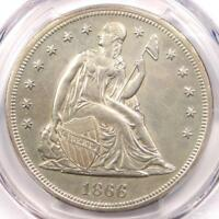 1866 SEATED LIBERTY SILVER DOLLAR $1 - PCGS UNCIRCULATED DETAIL UNC MS.