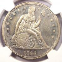 1866 SEATED LIBERTY SILVER DOLLAR $1 - CERTIFIED NGC AU DETAILS -  COIN