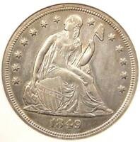 1849 SEATED LIBERTY SILVER DOLLAR $1 COIN - ANACS UNCIRCULATED DETAIL UNC MS