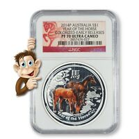 2014 P AUSTRALIA YEAR OF THE HORSE COLORIZED    NGC