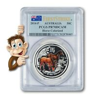 2014 P AUSTRALIA YEAR OF THE HORSE COLORIZED    PCGS