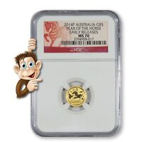 2014 P AUSTRALIA GOLD $5   YEAR OF THE HORSE    NGC MS70 EAR