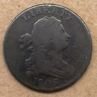 1805 DRAPED BUST HALF CENT COIN VF   STEMS LARGE 5