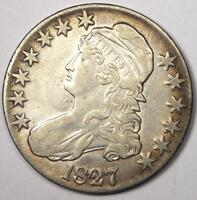 1827 CAPPED BUST HALF DOLLAR 50C - SHARP AU DETAILS -  DATE COIN