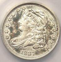 1837 CAPPED BUST DIME 10C  - ANACS AU50 DETAILS -  EARLY CERTIFIED COIN
