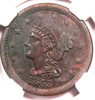 1843 BRAIDED HAIR LARGE CENT 1C - NGC UNCIRCULATED -  DATE MS BU PENNY