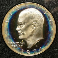 1974-S PROOF 40 SILVER EISENHOWER DOLLAR, ELECTRIC BLUE CONCENTRIC TONING