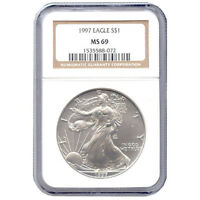 CERTIFIED UNCIRCULATED SILVER EAGLE 1997 MINT STATE 69