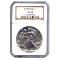 CERTIFIED UNCIRCULATED SILVER EAGLE 1989 MINT STATE 69