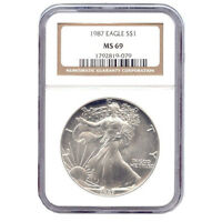 CERTIFIED UNCIRCULATED SILVER EAGLE 1987 MINT STATE 69