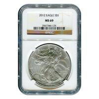 CERTIFIED UNCIRCULATED SILVER EAGLE 2012 MINT STATE 69 NGC