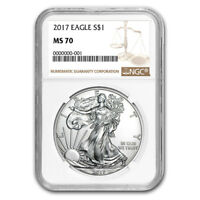 CERTIFIED UNCIRCULATED SILVER EAGLE 2017 MS70 NGC