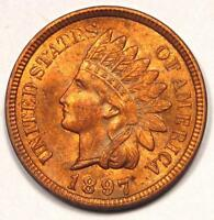 1897 INDIAN CENT PENNY 1C - UNCIRCULATED DETAILS UNC MS -  COIN