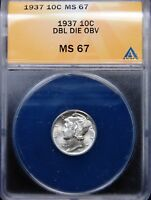 1937 MERCURY DIME ANACS MINT STATE 67 DOUBLED DIE OBVERSE DESIGNATED BUT NO ATTRIBUTION