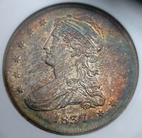 1837 REEDED EDGE BUST HALF ANACS MINT STATE 64 FABULOUS TONE
