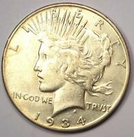 1934-S PEACE SILVER DOLLAR $1 - SHARP DETAILS -  DATE