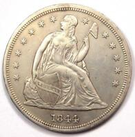 1844 SEATED LIBERTY SILVER DOLLAR $1 - EXTRA FINE  / AU DETAILS -  EARLY DATE COIN