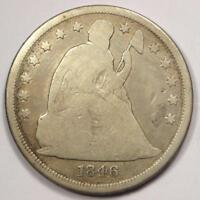 1846 SEATED LIBERTY SILVER DOLLAR $1 - VG DETAILS -  EARLY COIN