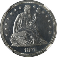 1871 SEATED LIBERTY DOLLAR PROOF NGC PF60  EYE APPEAL FANTASTIC LUSTER