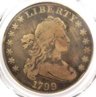 1799 DRAPED BUST SILVER DOLLAR $1 COIN BB-161 B-11 - PCGS FINE DETAIL -
