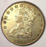 1836 CAPPED BUST HALF DOLLAR 50C - SHARP DETAILS -  LUSTER -  COIN