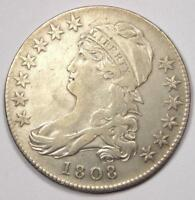 1808 CAPPED BUST HALF DOLLAR 50C - EXTRA FINE  DETAILS EF -  COIN