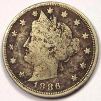 1886 LIBERTY NICKEL 5C - FINE DETAILS -  KEY DATE COIN