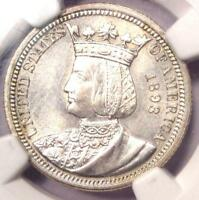 1893 ISABELLA COMMEMORATIVE QUARTER 25C - NGC UNCIRCULATED DETAILS MS UNC