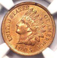 1905 INDIAN CENT 1C - CERTIFIED NGC UNCIRCULATED DETAIL -  UNC MS BU PENNY
