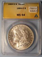 1884-O MORGAN DOLLAR VAM-5   CHOICE UNCIRCULATED ANACS MINT STATE 64