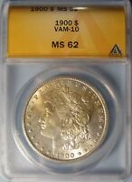 1900 MORGAN DOLLAR VAM-10  CHOICE UNCIRCULATED ANACS MINT STATE 62